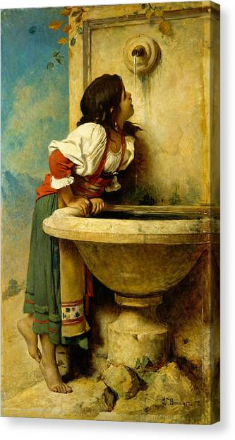 Canvas Print featuring the painting Roman Girl At A Fountain by Leon Bonnat