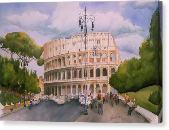 Roman Holiday- Colosseum Canvas Print by Leah Wiedemer
