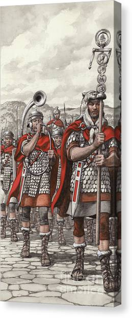 Marching Band Canvas Print - Roman Legions Marching Behind Their Standard by Pat Nicolle