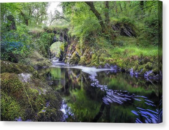 Fairy Glen Canvas Print - Roman Packhorse Bridge River Machno by Mal Bray