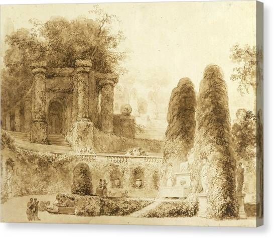 Rococo Art Canvas Print - Roman Park With Fountain  by Jean-Honore Fragonard