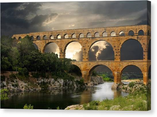 Ancient Art Canvas Print - Roman Pont Du Gard by Melvin Kearney