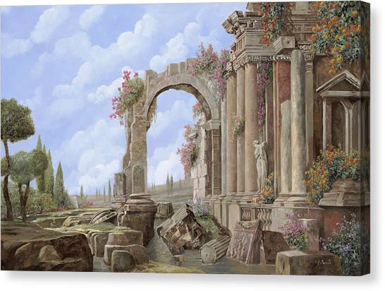 Statue Canvas Print - Roman Ruins by Guido Borelli