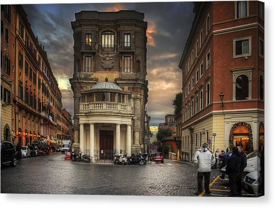 Canvas Print featuring the photograph Roman Streets by Ryan Wyckoff