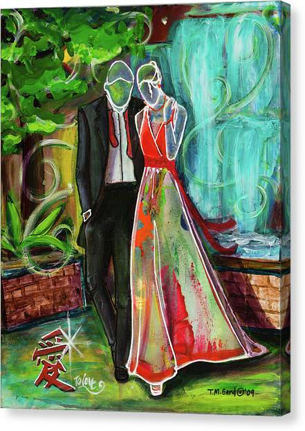 Canvas Print featuring the painting Romance Each Other by TM Gand