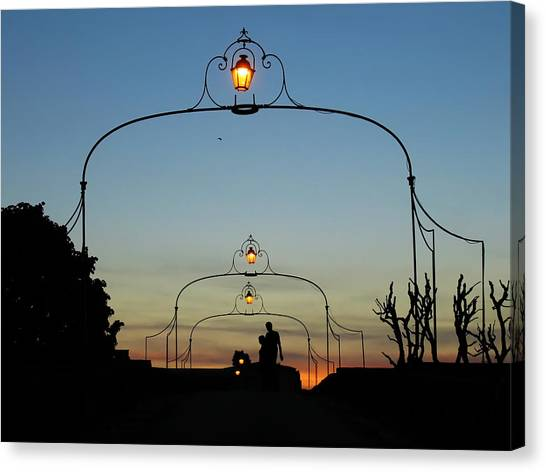 Canvas Print featuring the photograph Romance On The Old Lantern Bridge by Menega Sabidussi