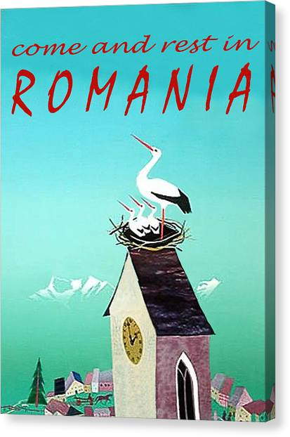 Storks Canvas Print - Romania, Stork On Village Watch Tower by Long Shot