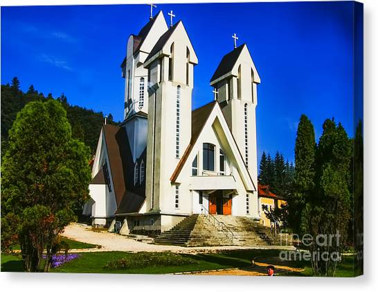 Romanian Church Canvas Print by Rick Bragan
