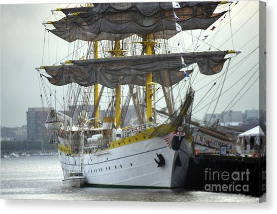 Romanian Tall Ship Canvas Print by Jim Beckwith