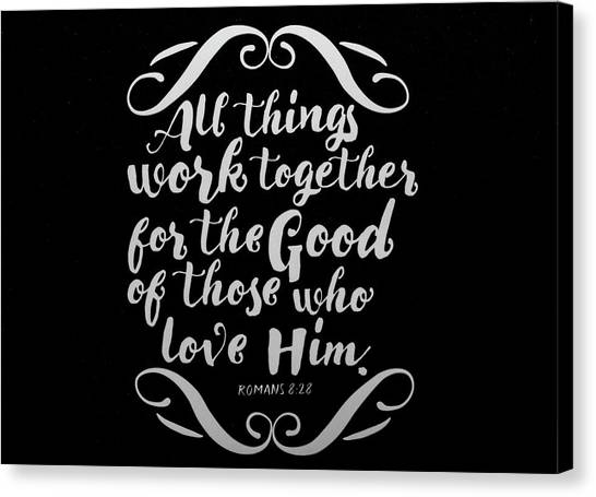 Romans 8 28 Scripture Verses Bible Art Canvas Print
