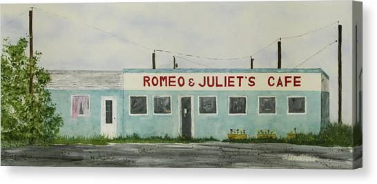 Romantic Cafe Canvas Print
