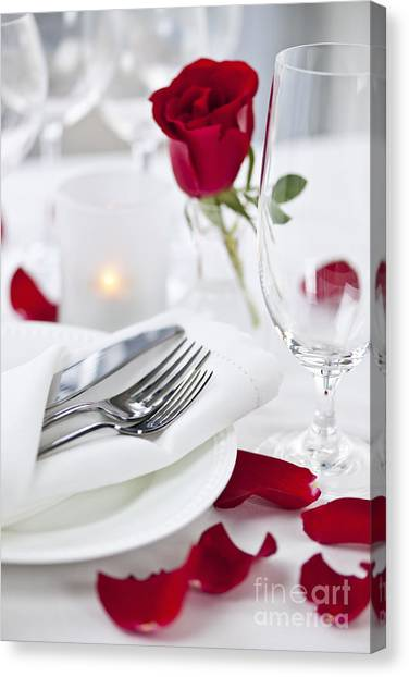 Roses Canvas Print - Romantic Dinner Setting With Rose Petals by Elena Elisseeva