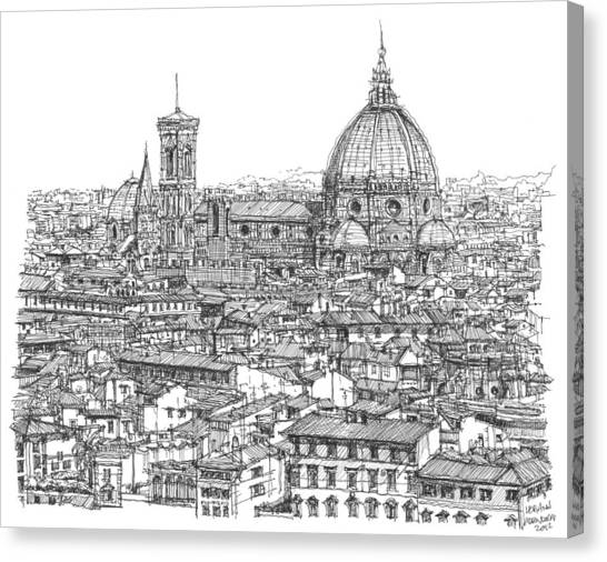 Romantic Florence Skyline In Ink Canvas Print by Building  Art