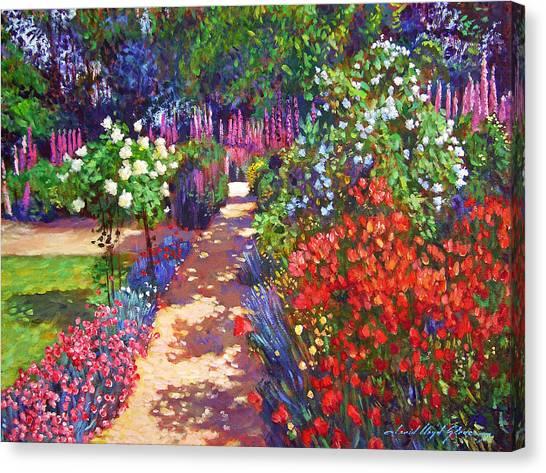 Most Viewed Canvas Print - Romantic Garden Walk by David Lloyd Glover