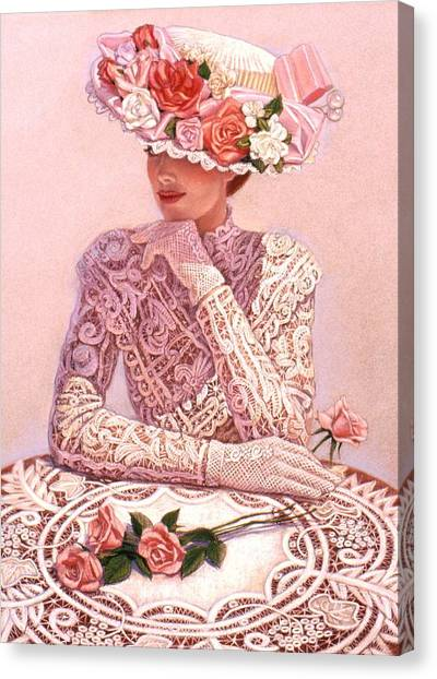 Lace Canvas Print - Romantic Lady by Sue Halstenberg