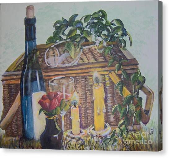 Canvas Print featuring the painting Romantic Picnic by Saundra Johnson