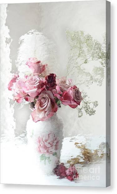 Impressionistic Canvas Print - Romantic Pink Red Roses Impressionistic Floral - Shabby Chic Romantic Pink And Red Roses by Kathy Fornal