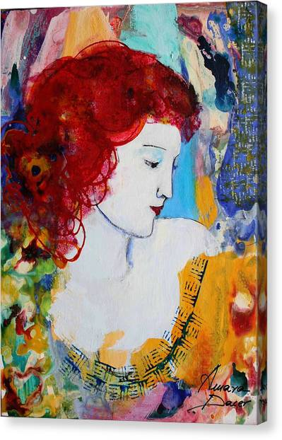 Romantic Read Heaired Woman Canvas Print