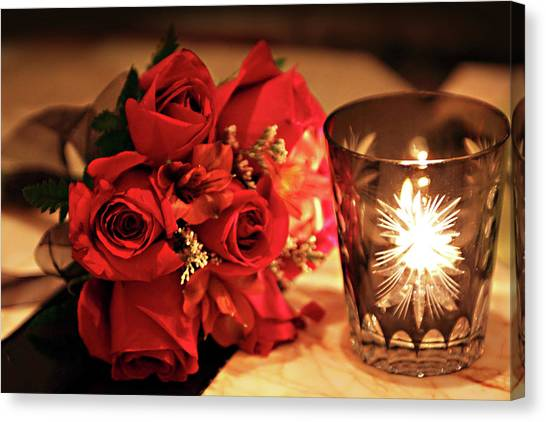 Romantic Red Roses In Candle Light Canvas Print