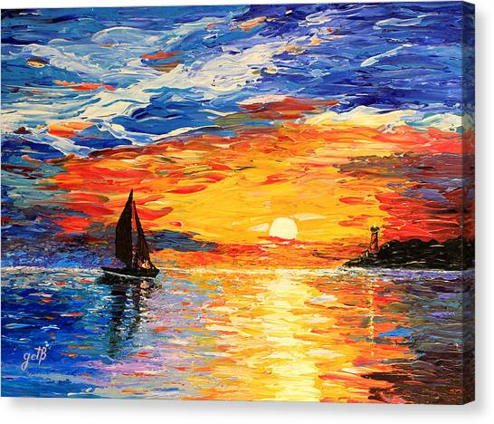 Canvas Print featuring the painting Romantic Sea Sunset by Georgeta  Blanaru