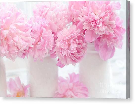 Peony Canvas Print - Shabby Chic Pastel Pink Peonies - Pink Peonies In White Mason Jars by Kathy Fornal