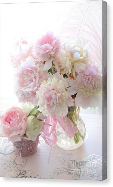 Shabby Chic Pink White Peonies - Shabby Chic Peonies Pastel Pink Dreamy Floral Wall Print Home Decor Canvas Print