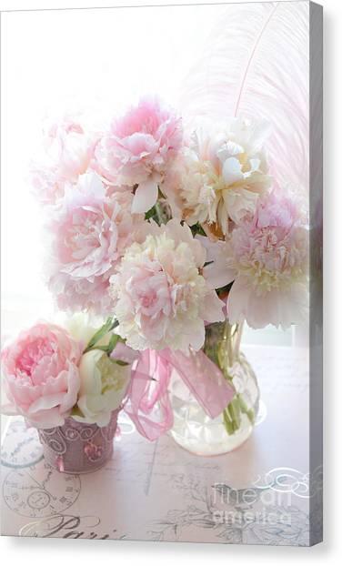 Romantic Shabby Chic Pink White Peonies - Shabby Chic Peonies Pastel Decor Canvas Print