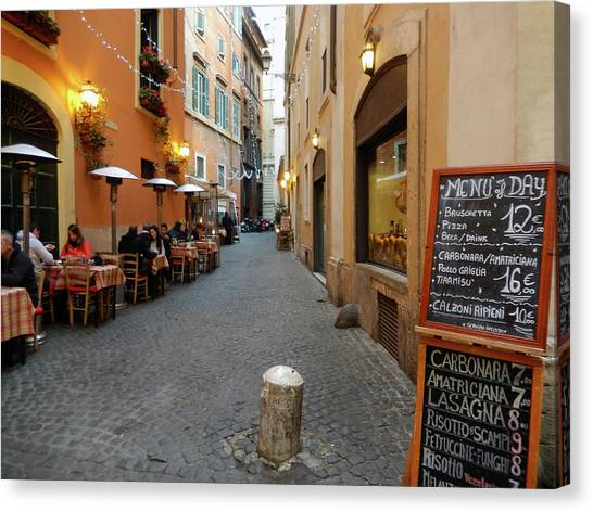 Romantic Streetside Cafe Canvas Print
