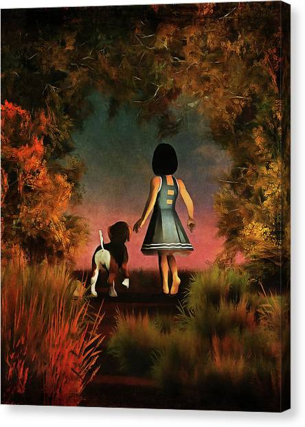 Romantic Walk In The Woods Canvas Print