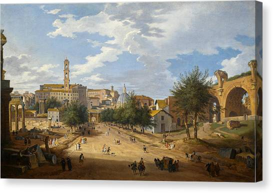 The Forum Canvas Print - Rome, A View Of The Forum Looking Towards The Capitol by Giovanni Paolo Panini