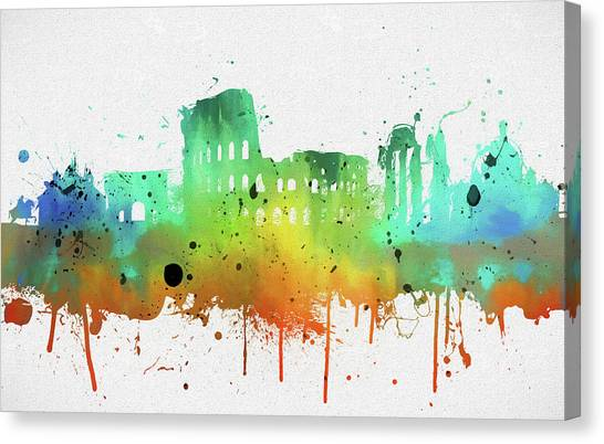 The Colosseum Canvas Print - Rome Colorful Abstract Skyline by Dan Sproul