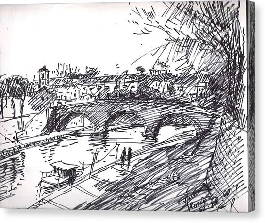 Tree Canvas Print - Bridge At Isola Tiberina Rome Sketch by Ylli Haruni