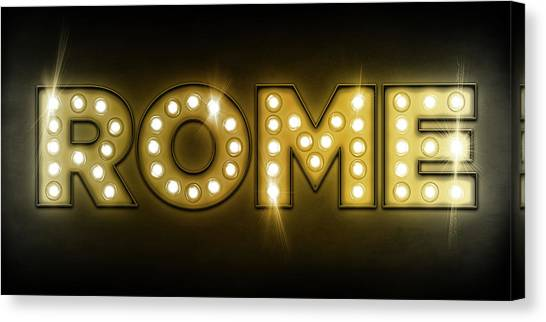 Neon Canvas Print - Rome In Lights by Michael Tompsett
