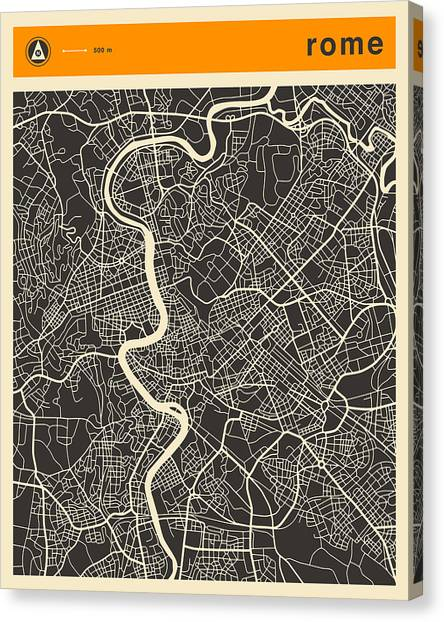 Rome Canvas Print - Rome Map by Jazzberry Blue