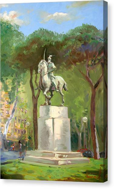 Statue Canvas Print - Rome Piazza Albania by Ylli Haruni