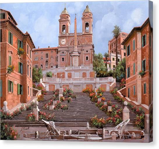 Street Scenes Canvas Print - Rome-piazza Di Spagna by Guido Borelli