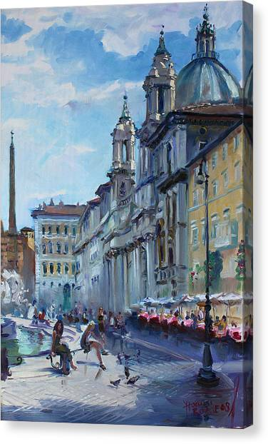 City-scapes Canvas Print - Rome Piazza Navona by Ylli Haruni