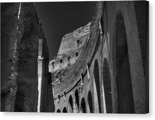 The Colosseum Canvas Print - Rome - The Colosseum 001 Bw by Lance Vaughn