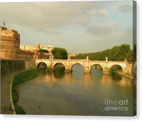 Rome The Eternal City And Tiber River Canvas Print