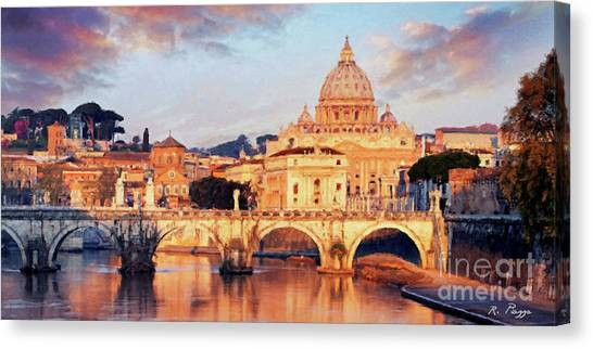 Rome The Eternal City - Saint Peter From The Tiber Canvas Print