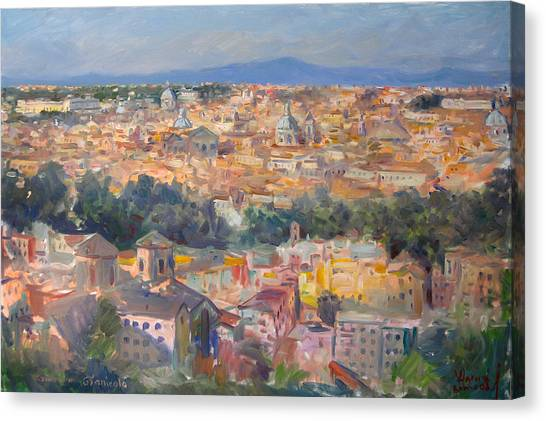 View Canvas Print - Rome View From Gianicolo by Ylli Haruni