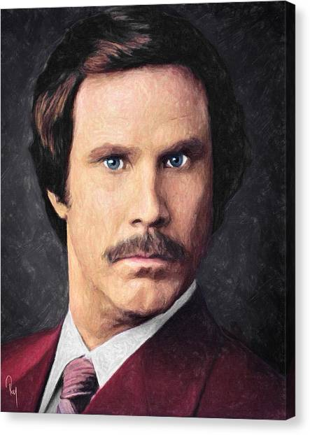 Character Portraits Canvas Print - Ron Burgundy by Taylan Apukovska