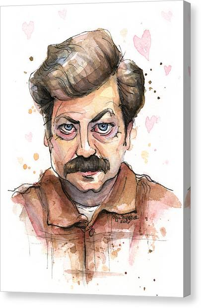 Bacon Canvas Print - Ron Swanson Funny Love Portrait by Olga Shvartsur