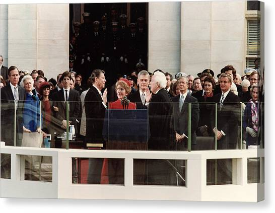 George Bush Canvas Print - Ronald Reagan Inauguration - 1981 by War Is Hell Store