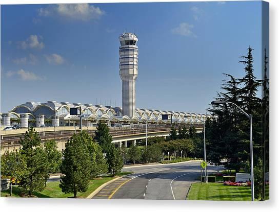Air Traffic Control Canvas Print - Ronald Reagan National Airport by Brendan Reals
