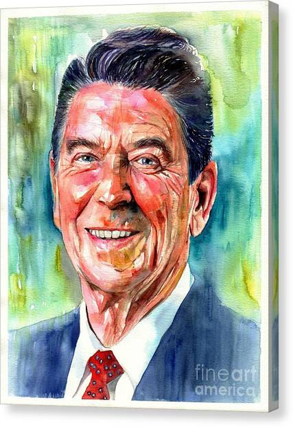Fair Canvas Print - Ronald Reagan Watercolor by Suzann's Art