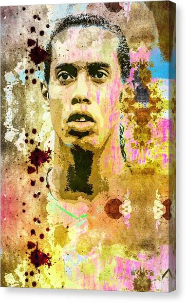 Ronaldinho Gaucho Canvas Print - Ronaldinho Gaucho by Svelby Art