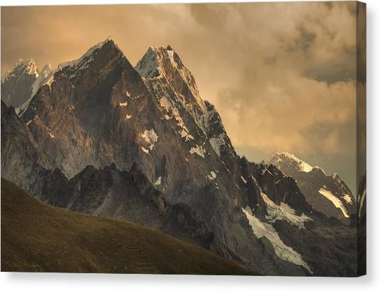 Andes Mountains Canvas Print - Rondoy Peak 5870m At Sunset by Colin Monteath