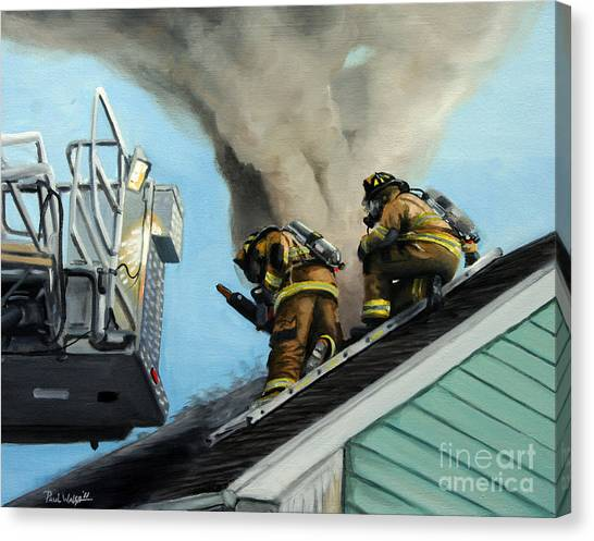 Firefighters Canvas Print - Roof Is Open by Paul Walsh