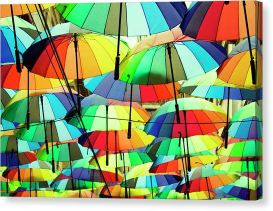 Roof Made From Colorful Umbrellas Canvas Print